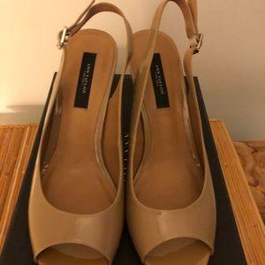 Cool Khaki peep toe sling back heels